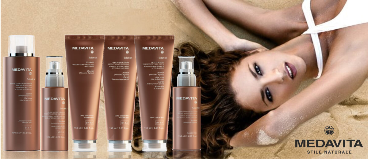 Sluneční řada profesionální vlasové kosmetiky MedaVita Solarich
