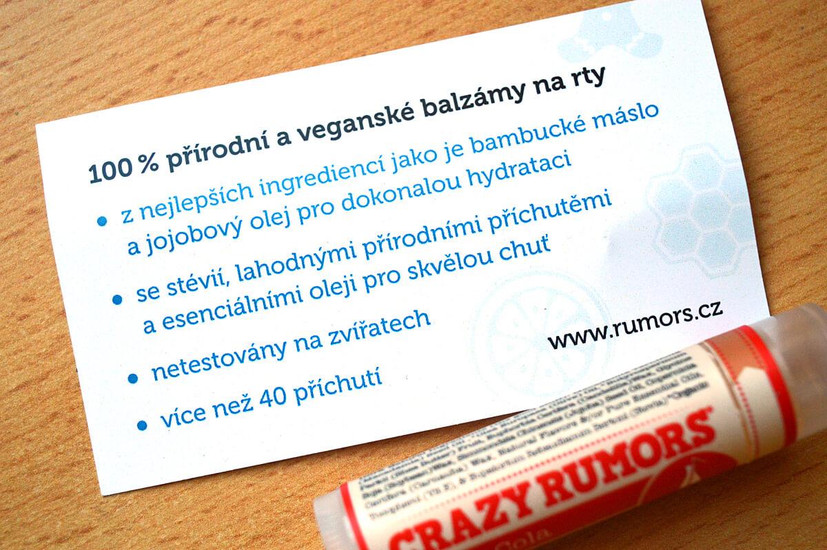 100% přírodní a veganské balzámy na rty Crazy Rumors