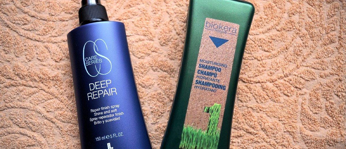 Lendan Deep Repair Finish obnovující sprej a Salerm Biokera Hydratační šampón