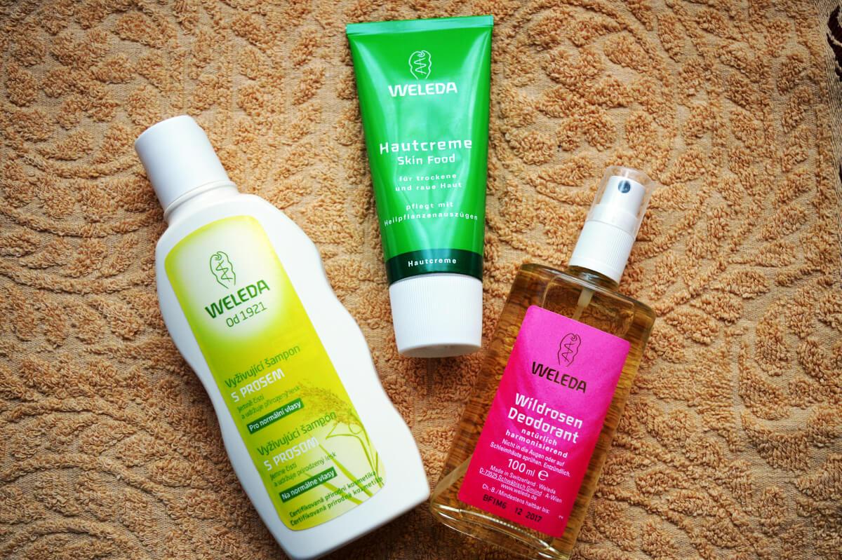 Weleda vyživující šampón s prosem, Weleda výživný krém a Weleda růžový deodorant