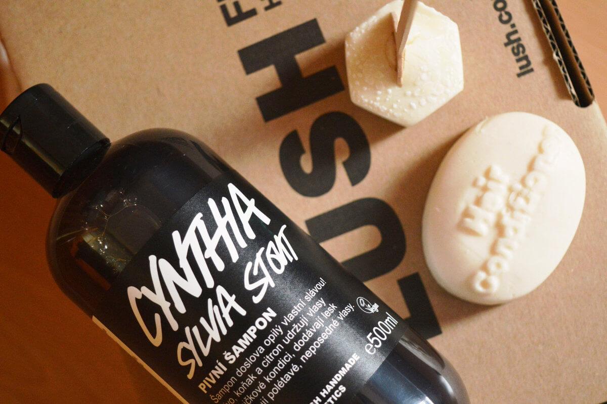 Lush Cynthia Sylvia Stout pivní šampón a tuhý kondicionér