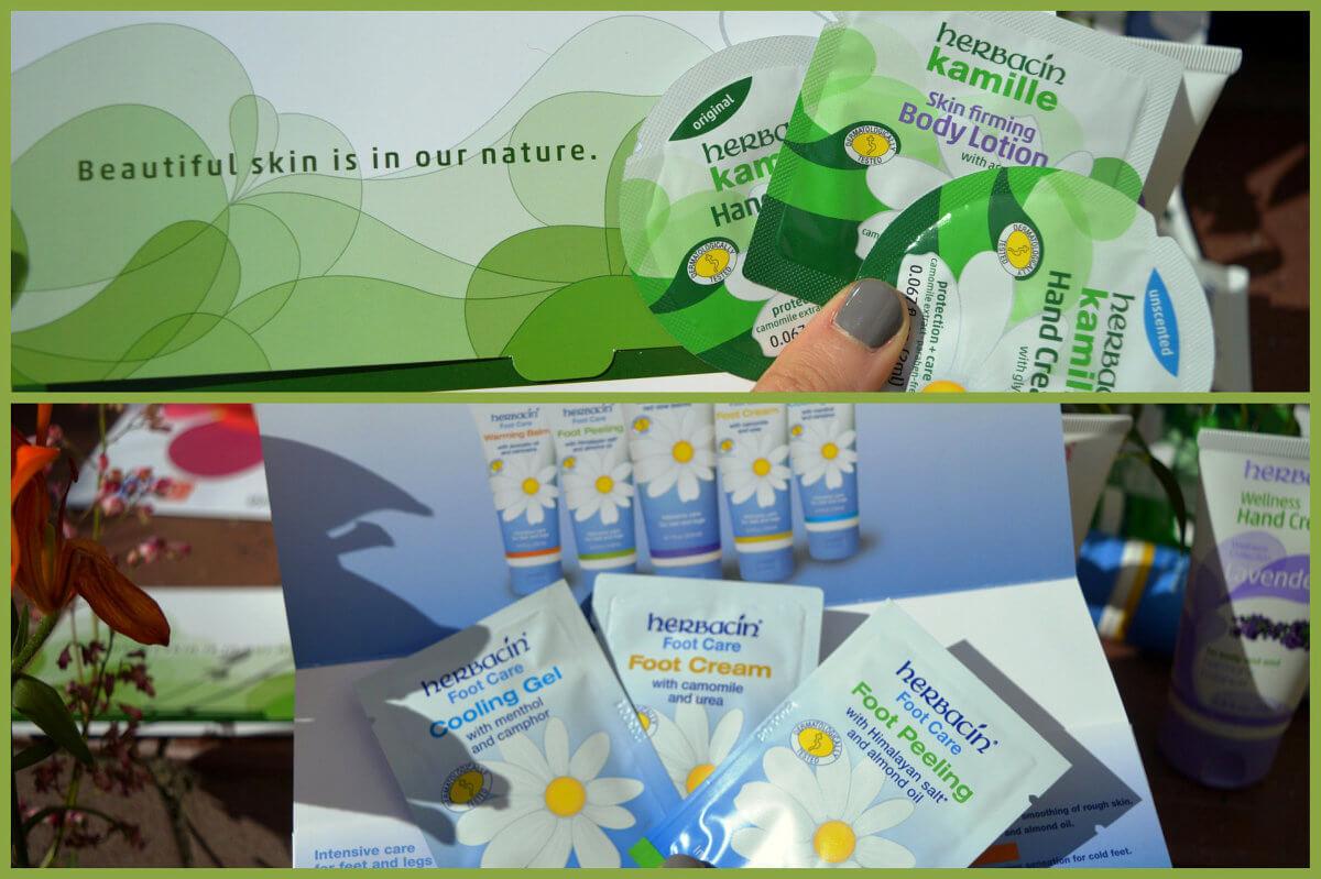 Herbacin heřmánková kolekce pečujících produktů (nahoře) a péče o nohy a chodidla (dole)