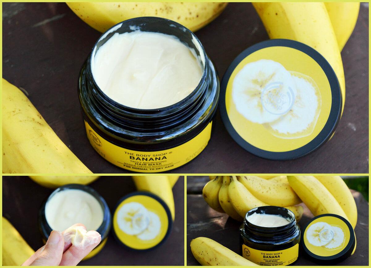 Banánová maska a bližší pohled na její krémový obsah