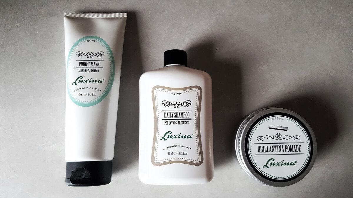 Luxina Purify peelingová maska, Luxina Daily posilující šampón pro muže a Luxina Brillantina modelační a pečující krém