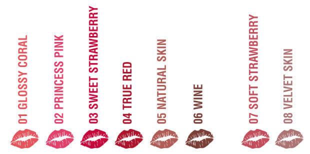 Odstíny rtěnek Salerm Cosmetics